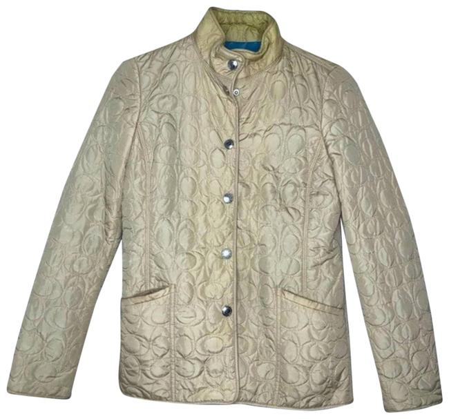 Item - Tan Light Weight Button Up Quilted Jacket Coat Size 2 (XS)