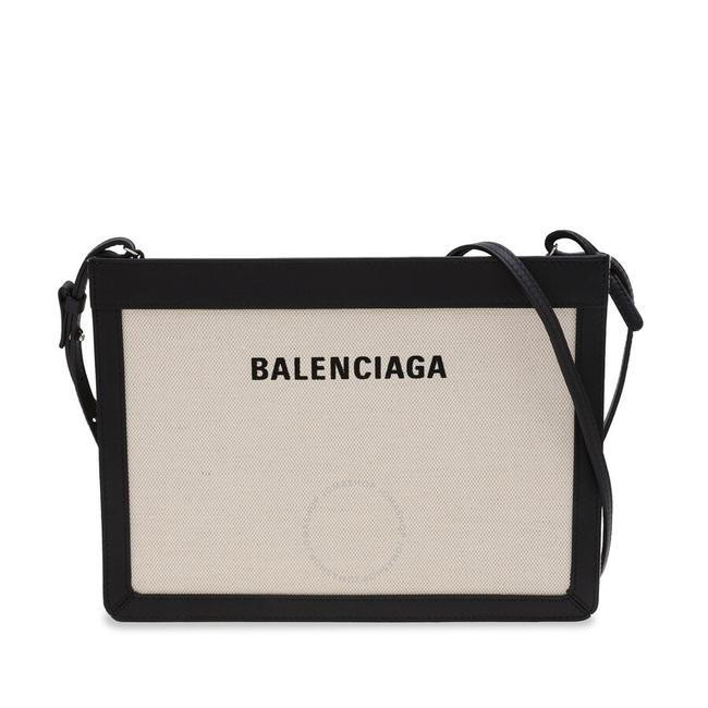 Item - Cotton and Calfskin Pouch with Strap Beige/Black Canvas & Leather Clutch