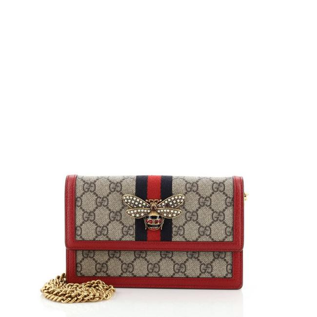 Item - Chain Wallet Queen Margaret Gg Coated Mini Brown Red Canvas Cross Body Bag