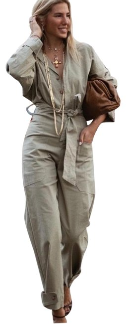 Item - Khaki Favorite Long Belted Jumpsuit Bloggers Pant Suit Size 2 (XS)