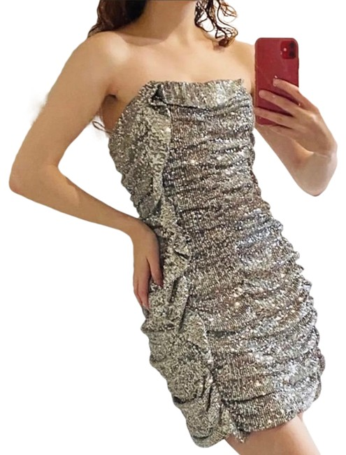 Item - Silver Limited Edition Sequin Short Cocktail Dress Size 4 (S)