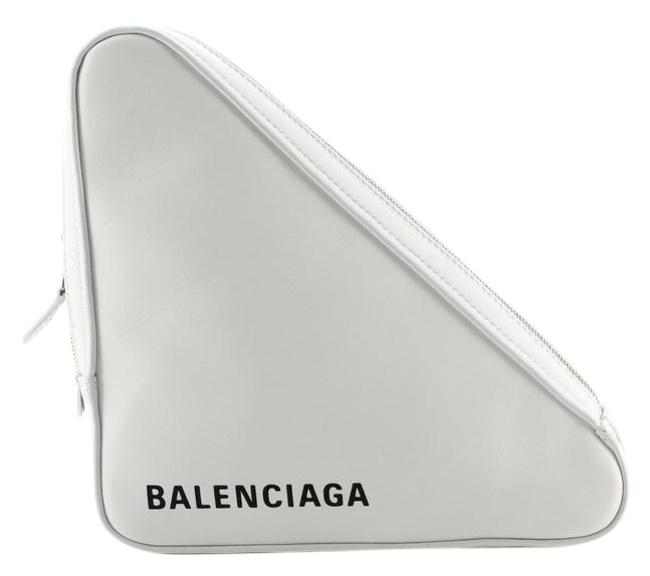 Item - Triangle Pouch Medium White Leather Clutch