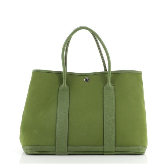 HermèsGarden Party And 36 Green Canvas (Plain) Leather Tote