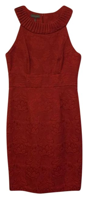 Item - Red Brocade Mid-length Cocktail Dress Size 10 (M)