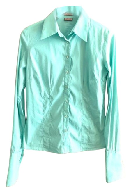Item - Green Blue Button-down Top Size 6 (S)