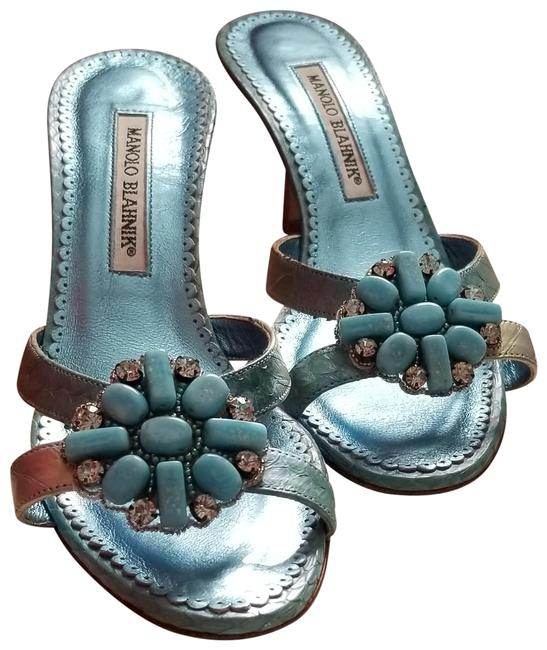 Item - Teal Mules/Slides Size US 7.5 Regular (M, B)