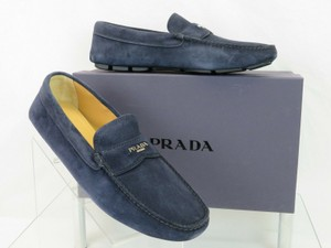 Prada Blue 2dd165 Navy Suede Logo Driving Moccasins Penny Loafers 10.5 / Us 11.5 Shoes