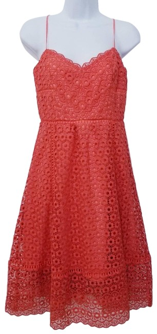 Item - Orange Daisy Coral Scalloped Hem Sundress Mid-length Cocktail Dress Size 0 (XS)