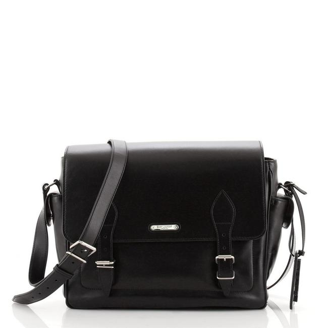 Item - Double Buckle Medium Black Leather Messenger Bag