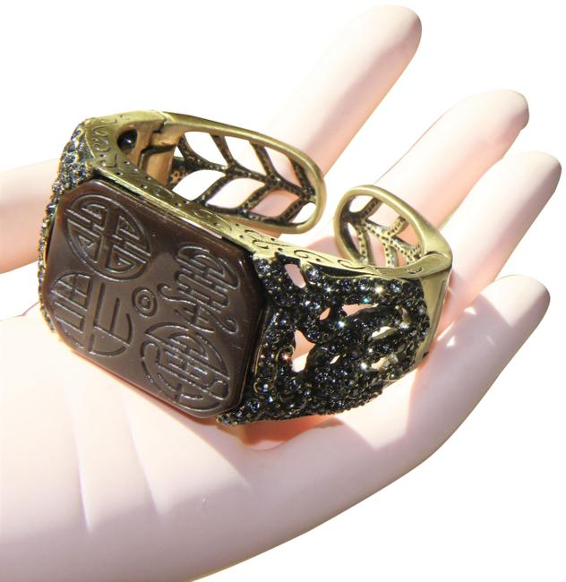 Item - Cocoa Brown Crystal Etched Czech Glass Cuff Bracelet