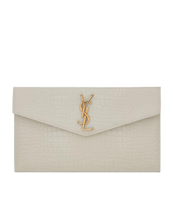 Item - Croc-embossed Uptown Envelope Pouch White Leather Wristlet