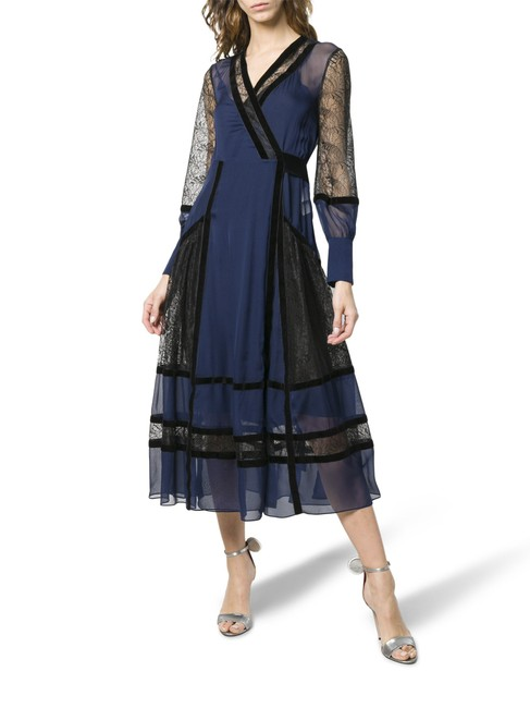 Item - Blue New Forrest Navy Silk Lace Midi Wrap Mid-length Cocktail Dress Size 8 (M)