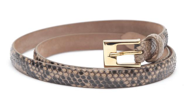 Item - Brown Thin Skinny Exotic Leather Gold S Belt