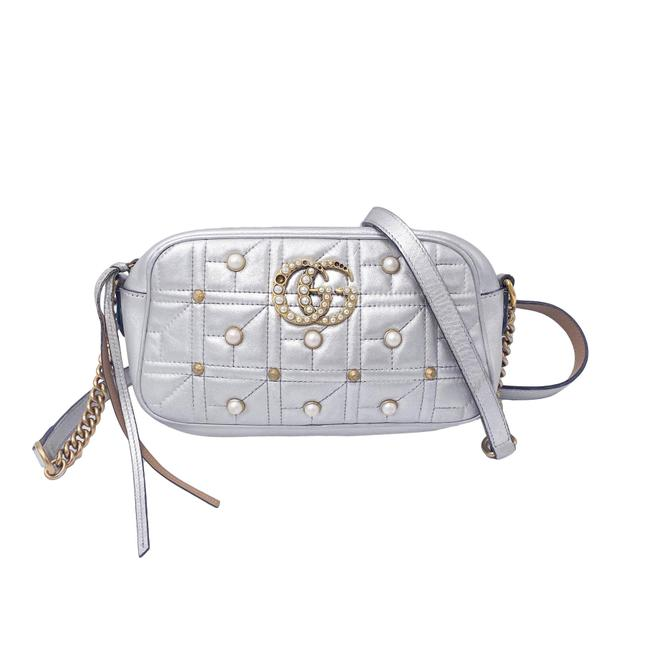 Item - Marmont Calfskin Metallic Pearl Studded Matelasse Small Gg Silver Leather Shoulder Bag