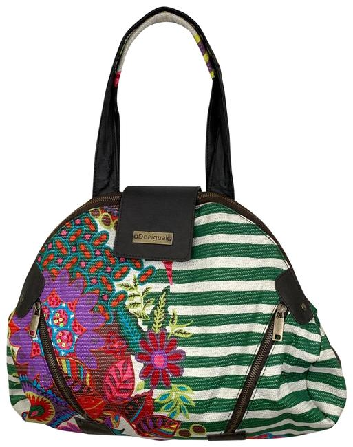 Item - Bag Striped Floral Small Green Pink Tote