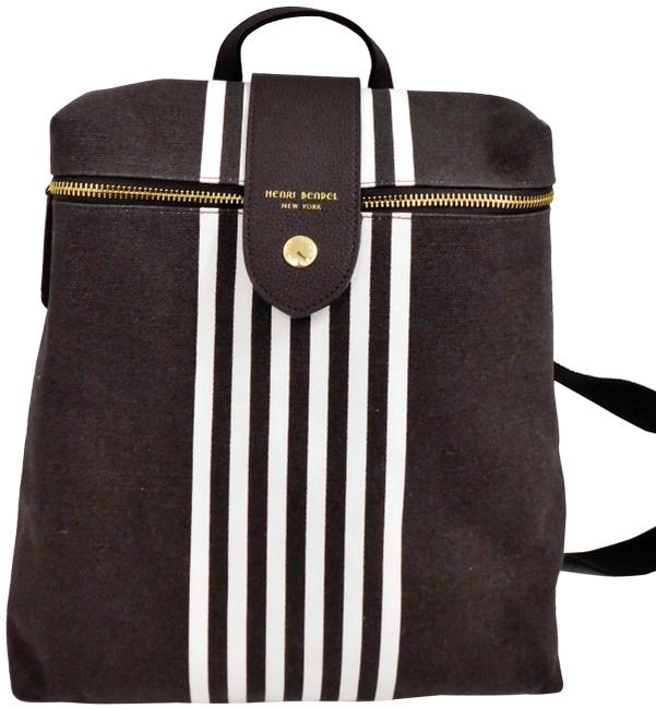 Item - White Striped Brown Canvas Backpack