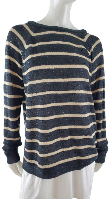 Item - Striped Sequined Linen Silk Long Sleeve Black and Cream Sweater