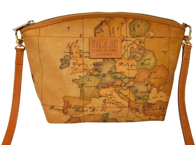 Item - Clutch 1st Classe Global Map Italy Multicolor Coated Canvas Cross Body Bag