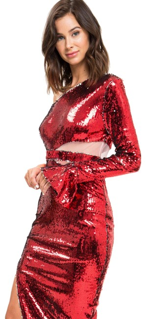 Item - Red Sequin One Shoulder Mid-length Night Out Dress Size 6 (S)