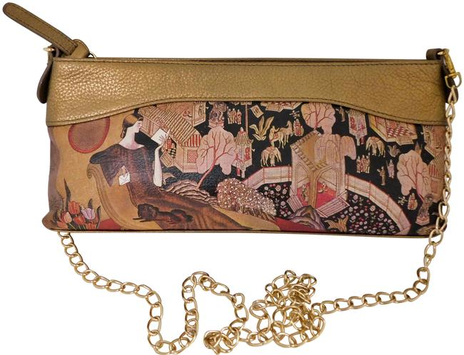 Item - Clutch Handpainted and Bronze Gold Chain Multicolor Leather Cross Body Bag