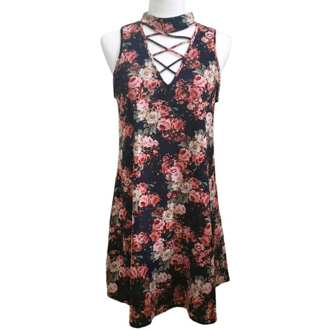 Item - Blue Floral Choker Style Short Casual Dress Size 4 (S)