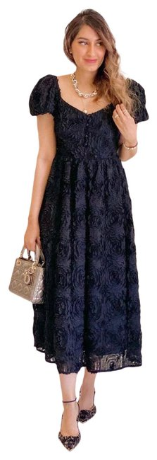 Item - Black Textured Weave Balloon Sleeve Mid-length Night Out Dress Size 2 (XS)