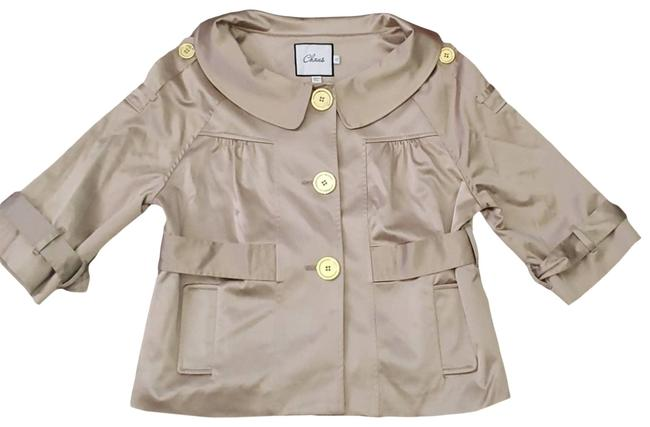 Item - Gold W 3/4 Sleeve Tan Blazer W/Gold Buttons Skirt Suit Size 10 (M)