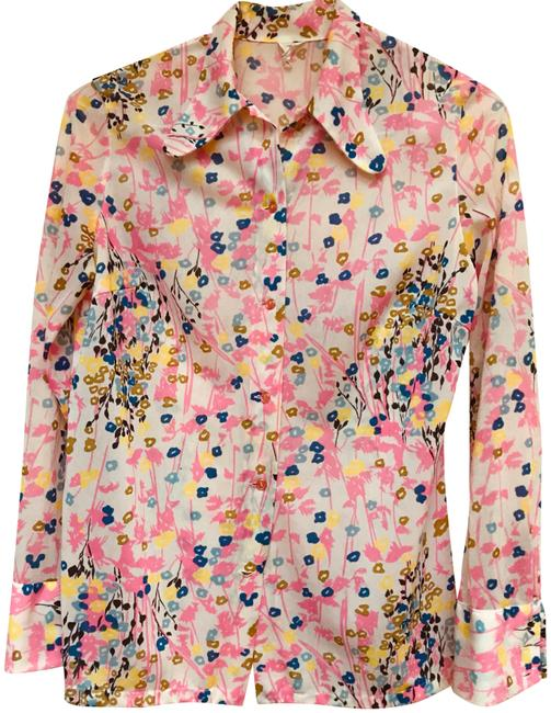 Item - Pink/Floral Print Shirt Button Up-made In France Button-down Top Size 6 (S)