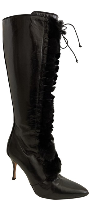 Item - Collection Tall Pointed Toe Leather Fur Trim Lace Up Boots/Booties Size US 8.5 Regular (M, B)
