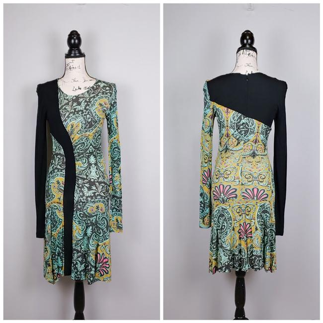 Item - Green Multicolor Ruched Ruffled Paisley Print Midi Mid-length Short Casual Dress Size 8 (M)