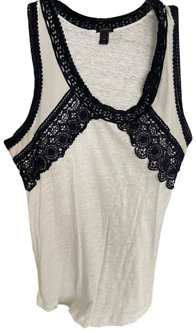 Item - Cream and Navy Blue Tank Top/Cami Size 6 (S)