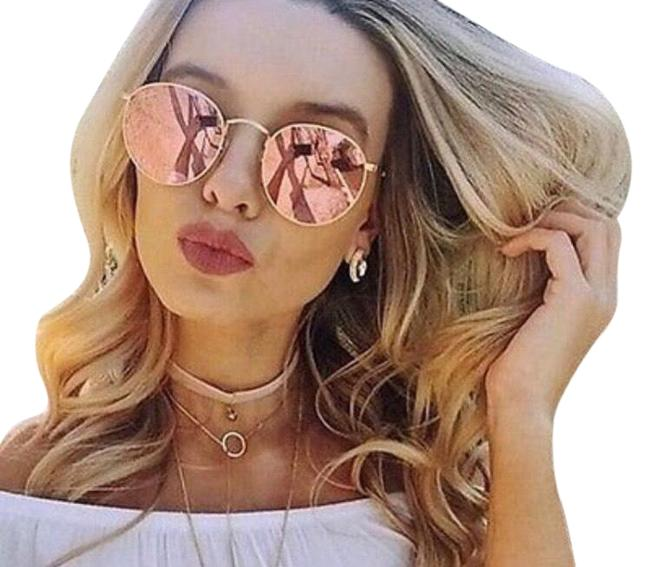 Item - Gold Copper Pink Metal Flash Flash Lens Frame 50mm Sunglasses