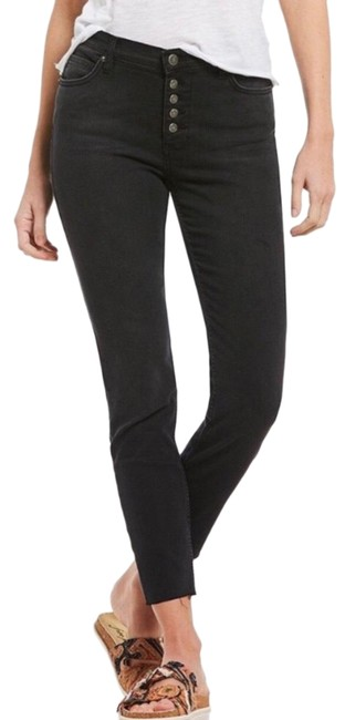Item - Black High Rise Button Fly Washed Skinny Jeans Size 4 (S, 27)