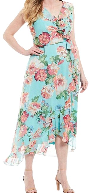 Item - Blue Floral Ruffle High Low Faux Wrap Midi Casual Maxi Dress Size 4 (S)