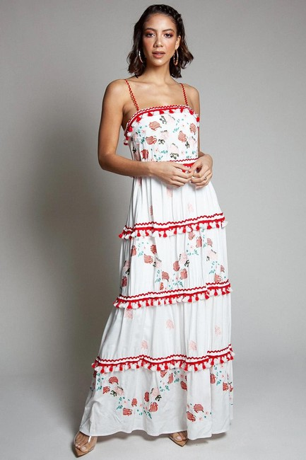 Item - White Floral Embroidered Sleeveless Floral Print Long Casual Maxi Dress Size 6 (S)