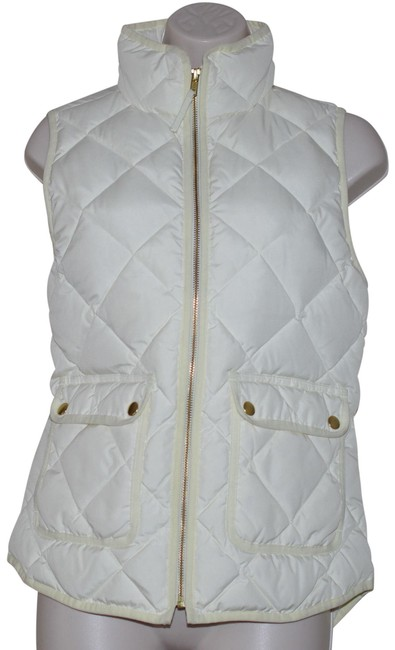 Item - Cream Excursion Quilted Gold Zip Down Vest Size 2 (XS)