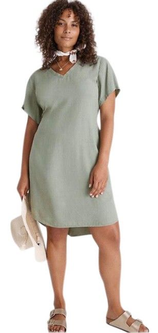 Item - Green Liv Tie-front Mini Mid-length Short Casual Dress Size 22 (Plus 2x)