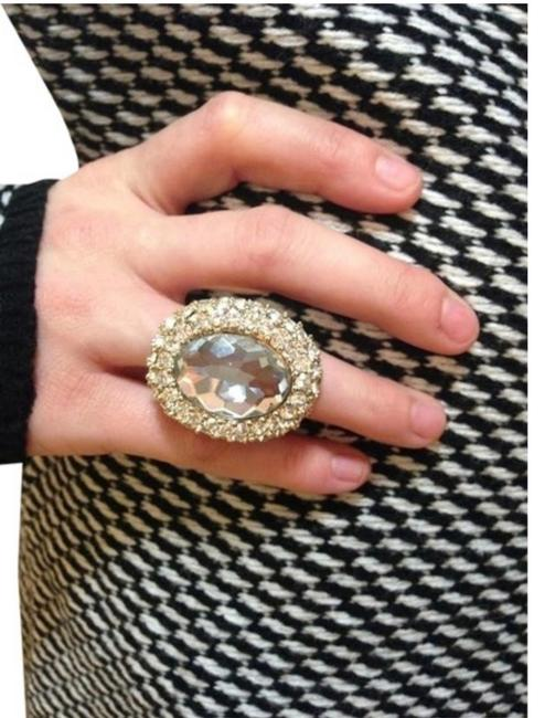 Item - Gold And Crystal Chunky Oversized Cocktail Ring