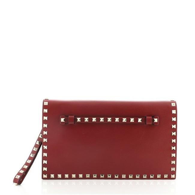 Item - Clutch Rockstud Flap Red Leather Wristlet