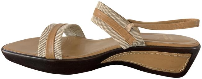 Item - Tan & Brown Fabric Low Wedge Sandals Size US 8.5 Narrow (Aa, N)