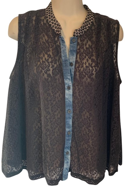Item - Blue and Brown Lace Button Up Button-down Top Size 8 (M)