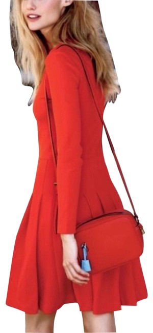 Item - Red Pleated Ponte Tall Stretch Knee Length Office Mid-length Cocktail Dress Size 6 (S)