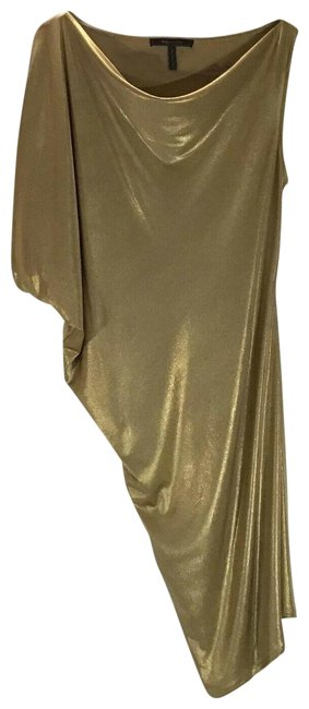 Item - Gold Abrial Liquid Mid-length Cocktail Dress Size 14 (L)