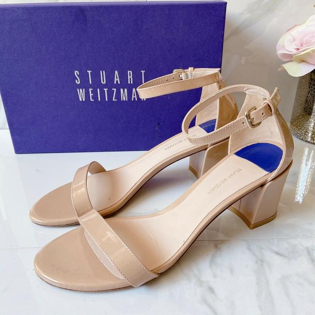 Item - Nude Leather Simple Ankle Strap Heels Sandals Size US 8 Regular (M, B)