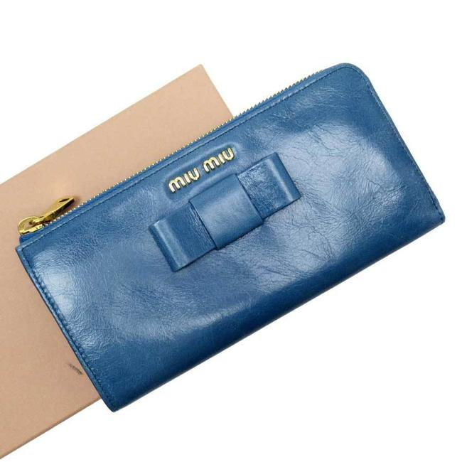 Item - Blue L-shaped Zipper Gold Leather Wallet
