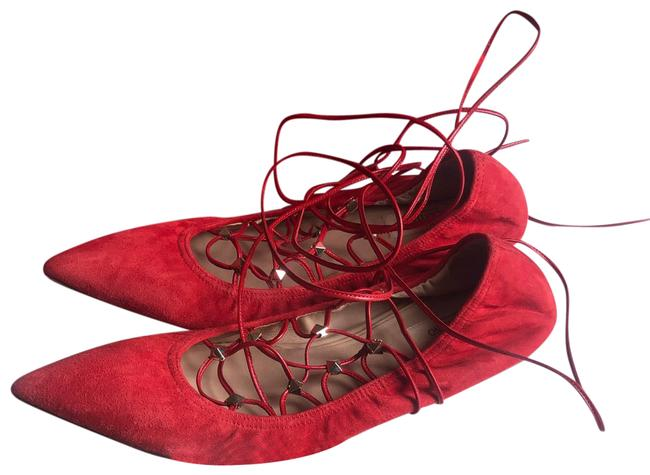 Item - Red Lace Up Gladiator Point Toe Skimmer Flats Size EU 39.5 (Approx. US 9.5) Regular (M, B)