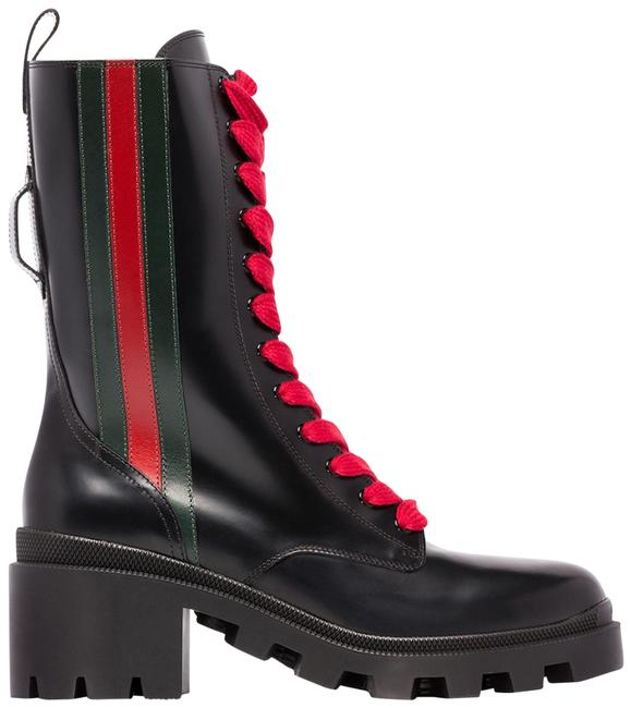Item - Black Red New Combat Trip Striped Glossed-leather Chunky Ankle Boots/Booties Size EU 38 (Approx. US 8) Regular (M, B)