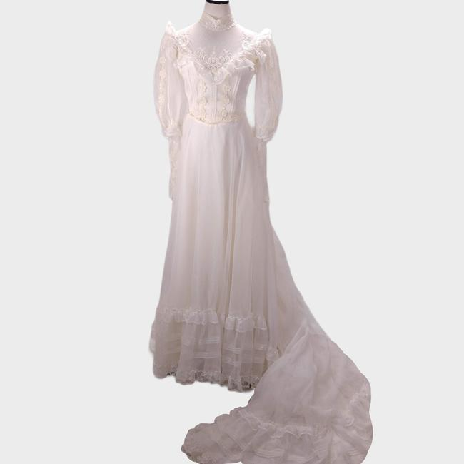 Eve of Milady Ivory Chiffon and Lace Victorian Style A Line Bishop Puff Sleeve Vintage Wedding Dress Size 6 (S) Eve of Milady Ivory Chiffon and Lace Victorian Style A Line Bishop Puff Sleeve Vintage Wedding Dress Size 6 (S) Image 1