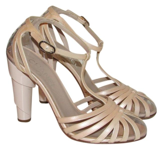Item - Blush Pink Spiral Architectural Peep Toe Heel T-strap Pumps Size EU 37 (Approx. US 7) Narrow (Aa, N)