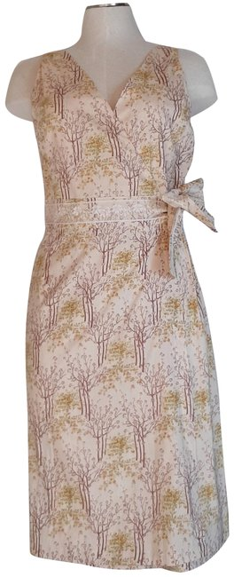 Item - Cream Pink Brown Cotton Sleeveless Floral Wrap Mid-length Short Casual Dress Size 8 (M)